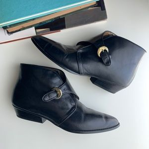 Vintage Etienne Aigner Leather Buckle Ankle Boots